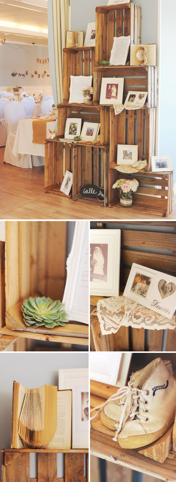 Unique uses for vintage crates at weddings