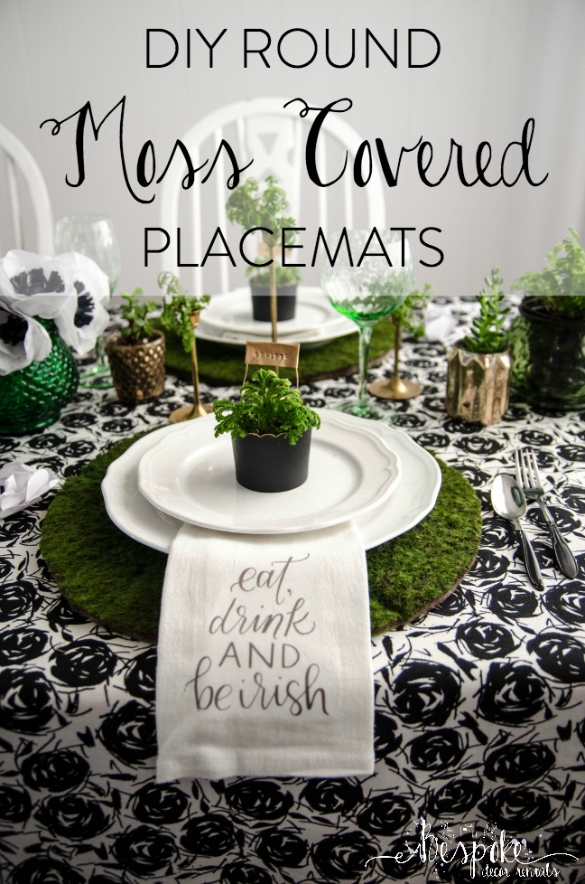 DIY Round Moss Covered Placemats - for a Classy Saint Patrick's Day Party