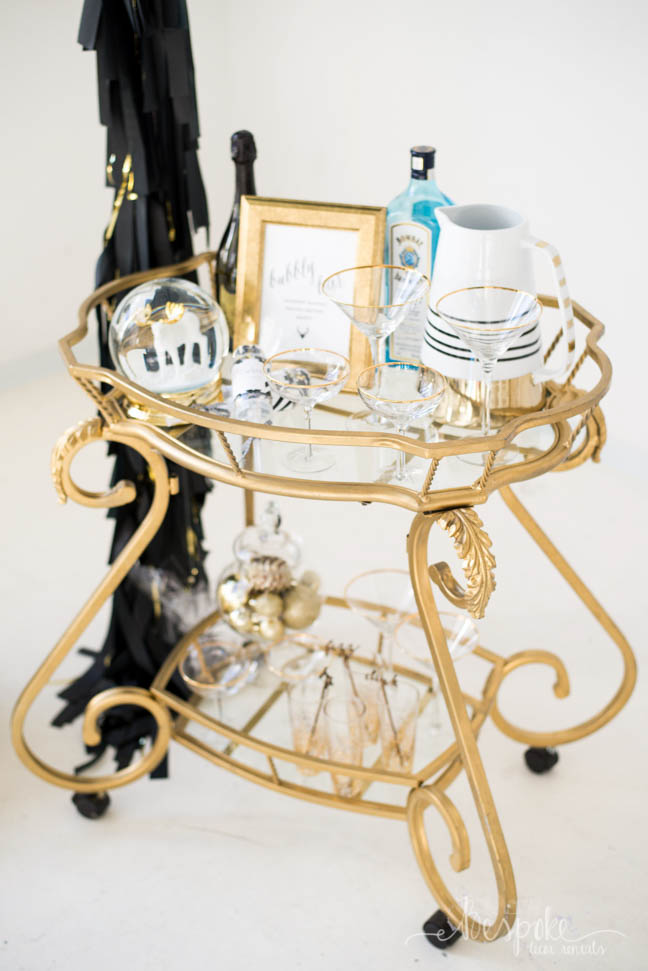 The Nicole Bar Cart... and awesome ideas to use a golden bar cart at your wedding!