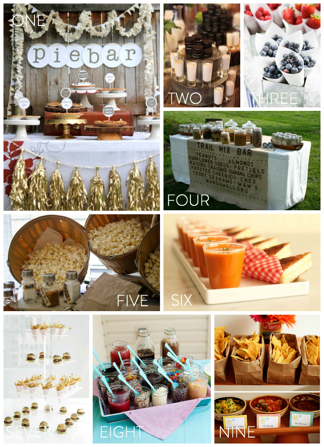 Snack Bars at weddings... love this idea!