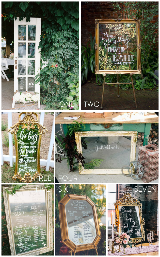 I'm loving the look of mirrors and glass for signs instead of chalkboards at weddings... so classy!