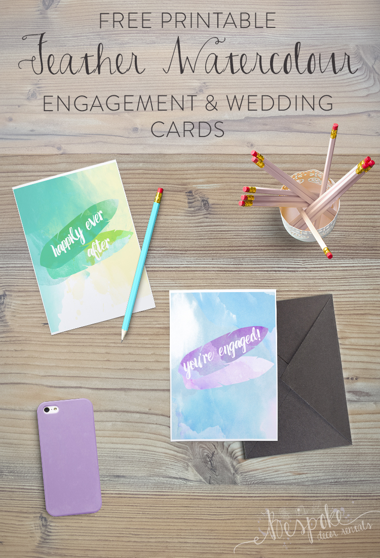 Free Printable Watercolour Engagement and Wedding Cards- so lovely!