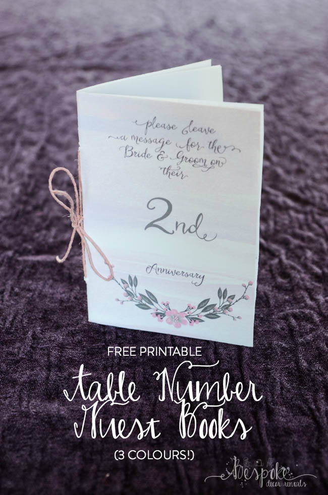 Table Number Guest Books... So fun! (Free printable in three colour schemes, 15 numbers)