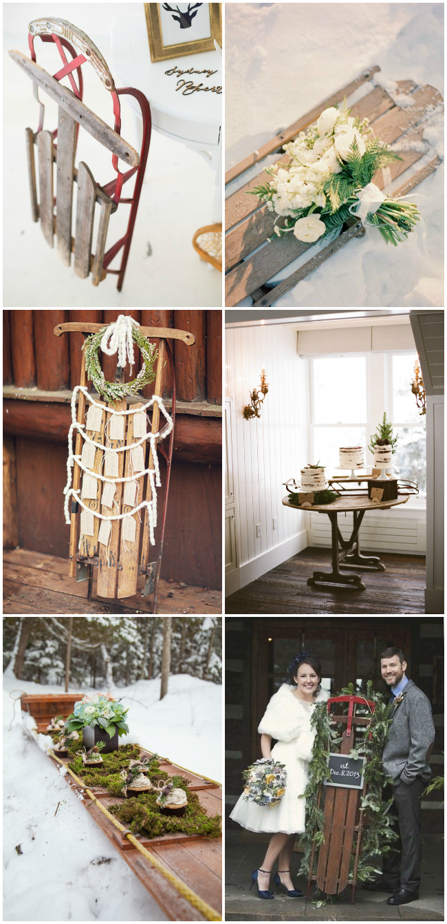 Inspiration for vintage Sleds at weddings- perfect for winter decor!