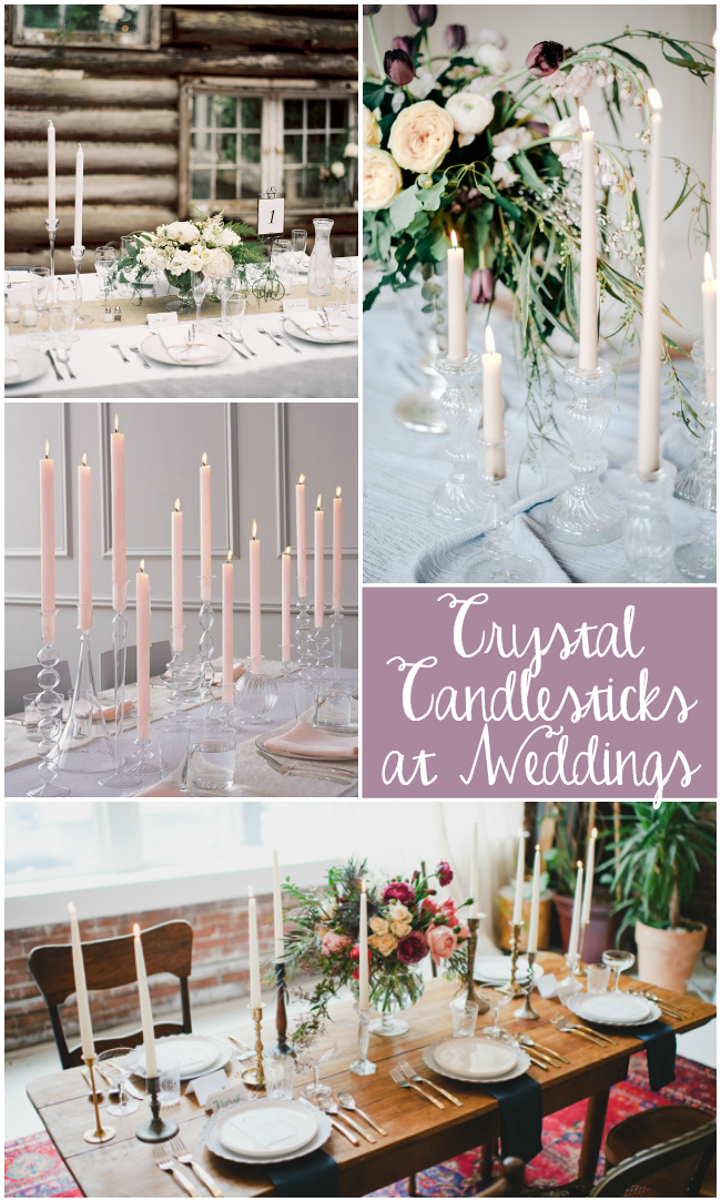 vintage crystal candlesticks are perfect for a wedding!