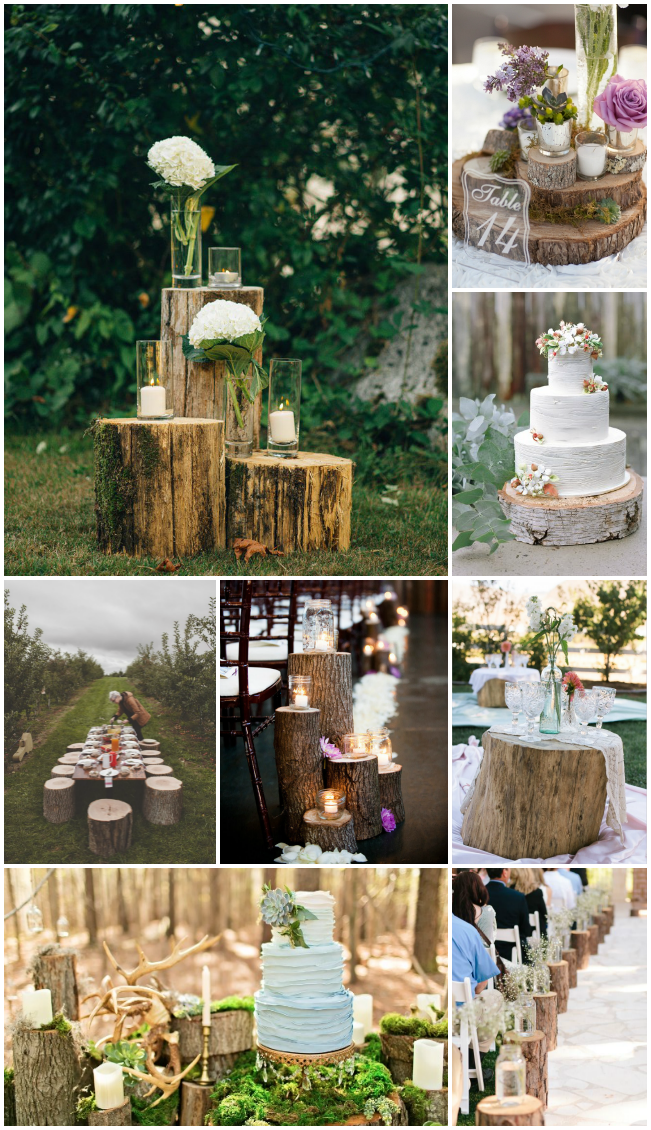 I never thought I would love wood logs as wedding decor so much... lots of great ideas here