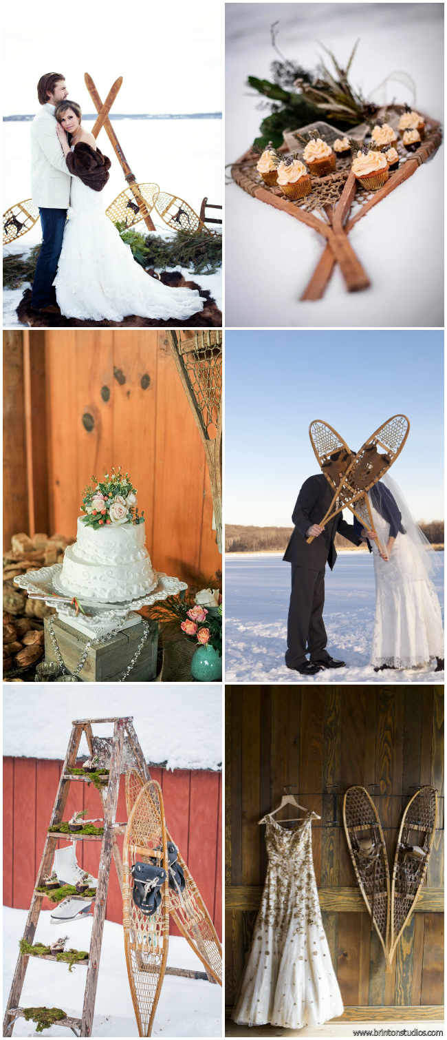 vintage snowshoes at weddings- so unique for a winter wedding