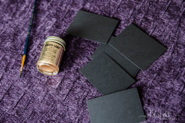 DIY black and gold gilded place cards