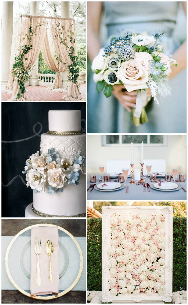 Inspired by Pantone's Colours of the Year- Rose Quartz and Serenity for weddings