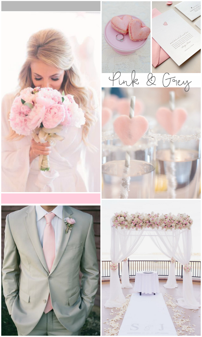 Inspired by valentine's day... a pink and grey wedding! I love the hearts details