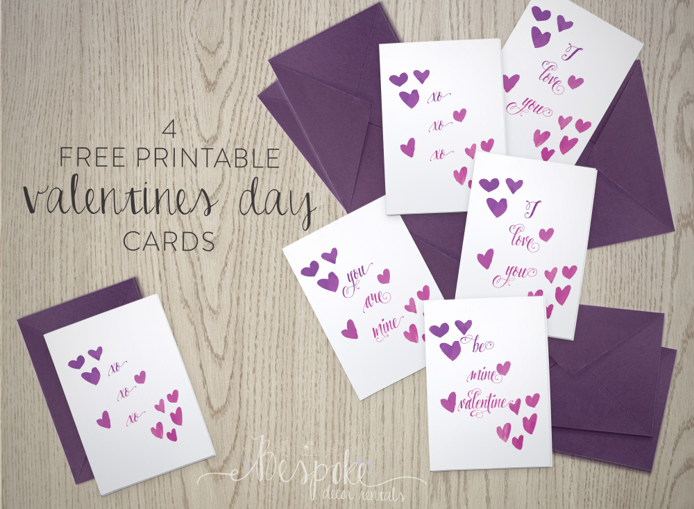 FOUR FREE PRINTABLE VALENTINES DAY CARDS