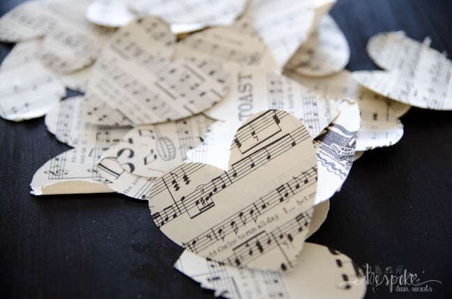 DIY Hearts Garland with Vintage Sheet Music