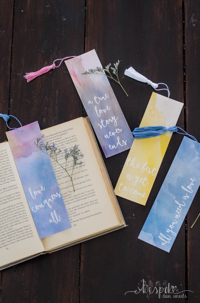 Free printable watercolor bookmarks about love... these are so perfect for favors!