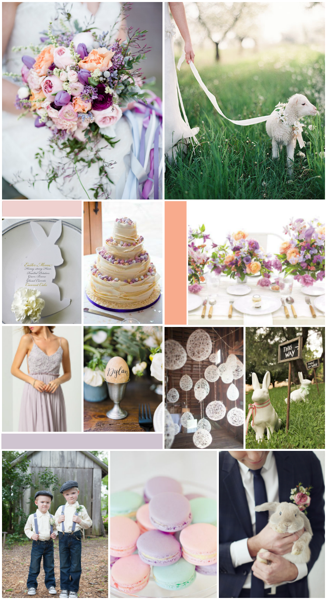an easter inspired wedding with a purple and peach colour scheme