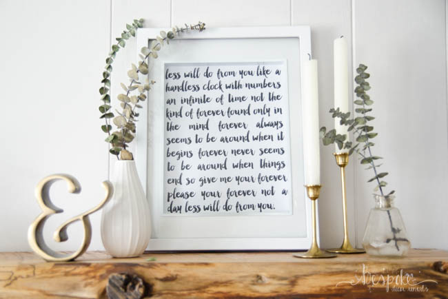 DIY Faux Hand Lettered Song Lyric Art. I love this for a wedding gift! Customize it with the couple's first dance song