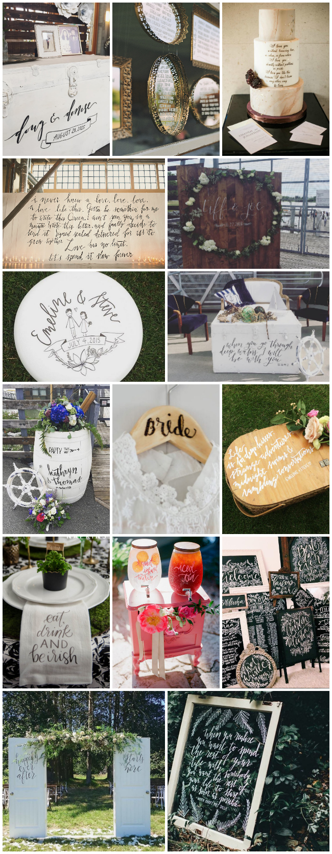 letter all the things- so many options for calligraphy at weddings!