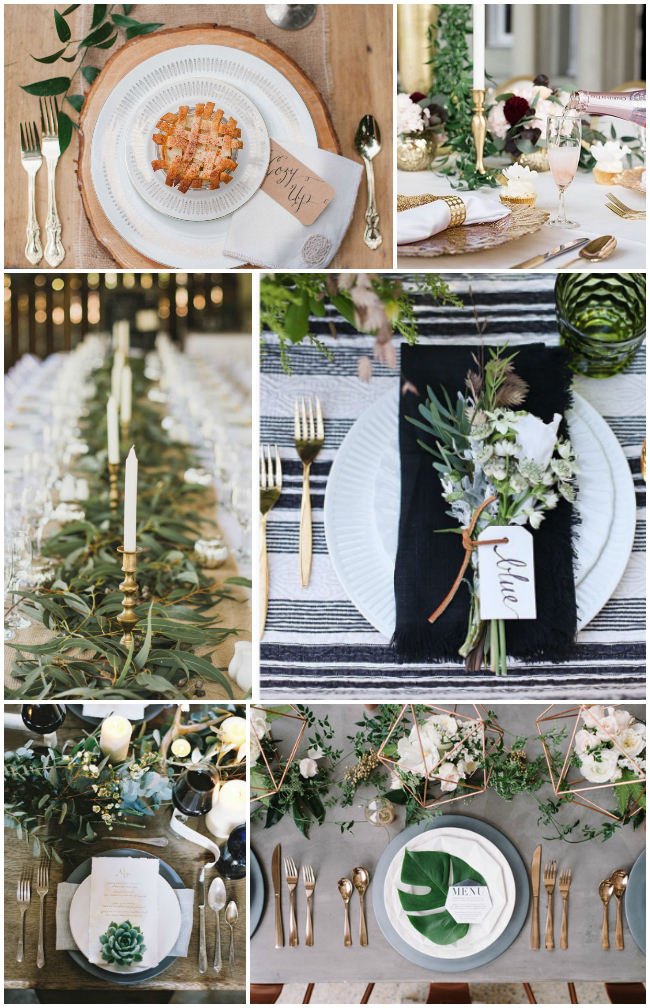 I'm loving these table settings full of neutrals with pops of metallic