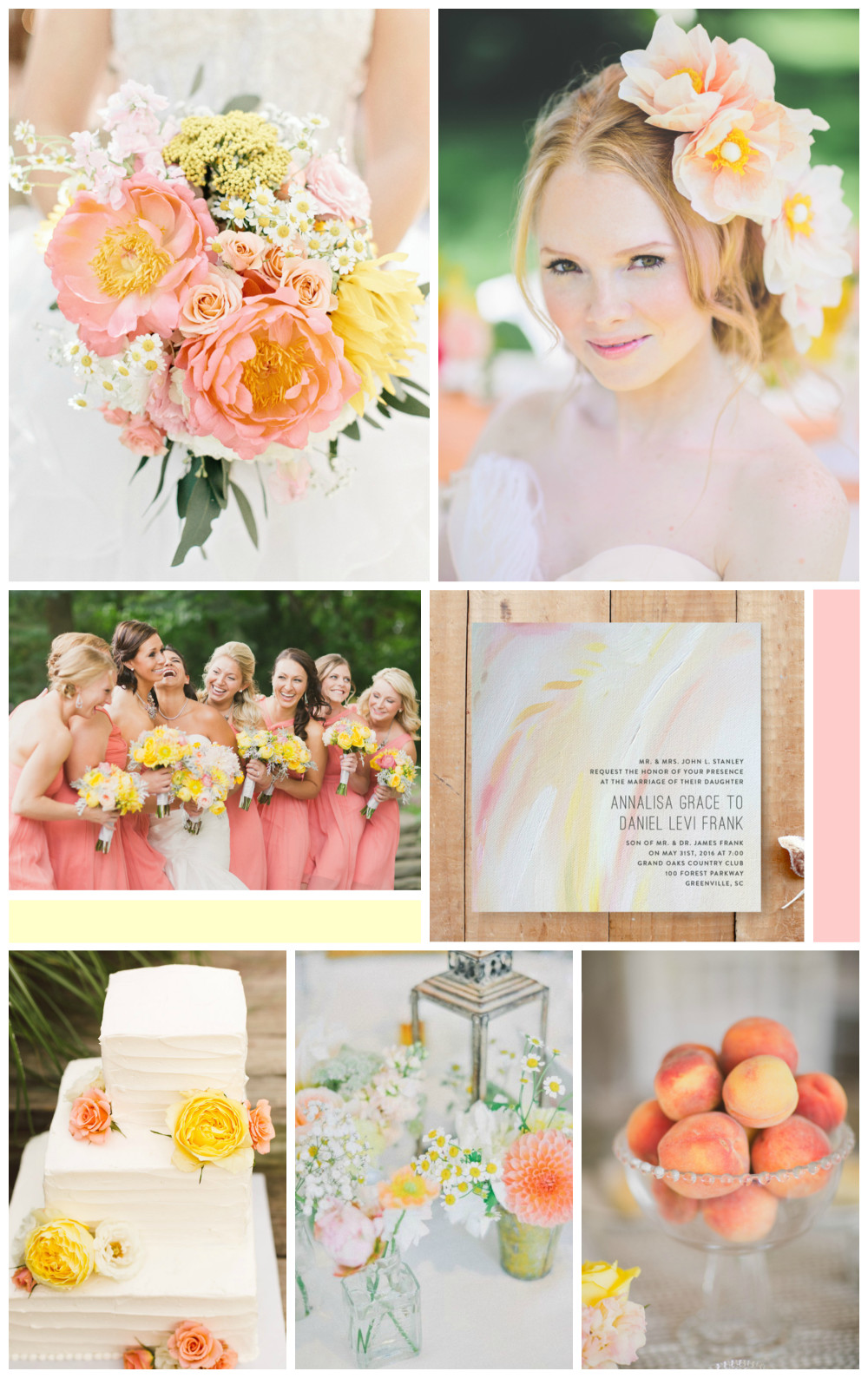 soft peach and yellow wedding inspiration