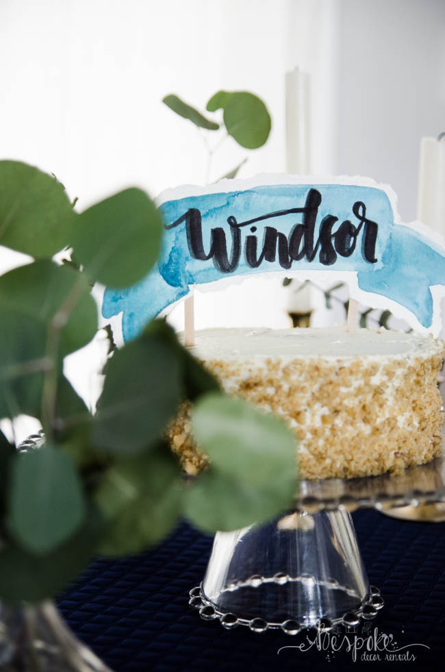 DIY Watercolour Banner Cake Topper- I love the torn edges, it's perfect for a wedding shower. Also, it's so nice to have a video to learn from instead of pictures