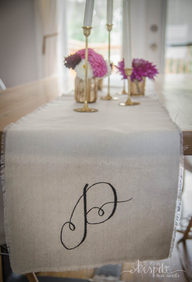 DIY monogram table runner.... I love this! So simple to make too and would be the perfect harvest table decor for weddings or events