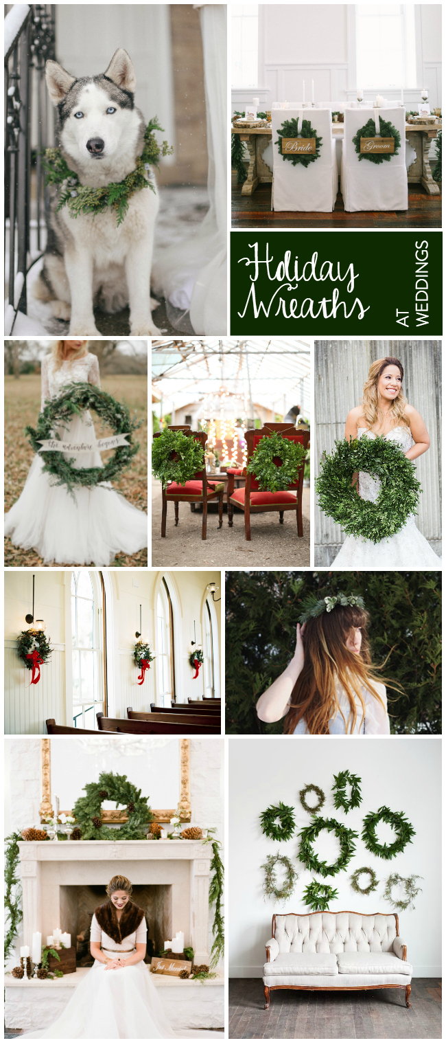 I LOVE holiday wreaths at weddings! They're so classic and the perfect way to bring a holiday vibe without red